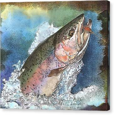 Leaping Rainbow Trout Canvas Print