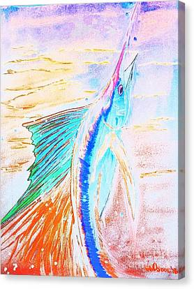 Leaping Sailfish - Colorful Abstract Canvas Print by Scott D Van Osdol