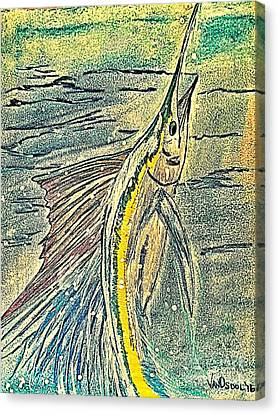 Leaping Sailfish - Digitally Painted Canvas Print by Scott D Van Osdol