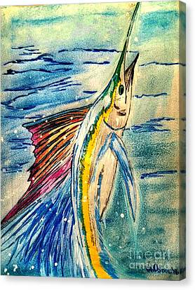 Leaping Sailfish - Pastels Canvas Print by Scott D Van Osdol