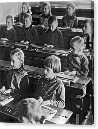 Schoolroom Canvas Print - Learning Abc's In Berlin by Underwood Archives