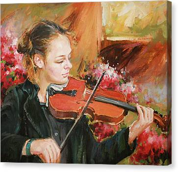 Violin Canvas Print - Learning The Violin by Conor McGuire