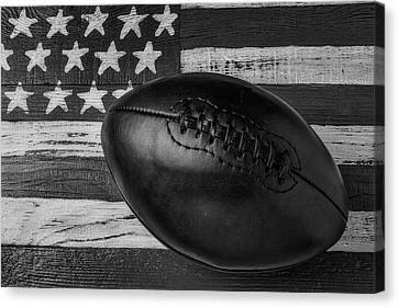 Leather Football On Flag Black And White Canvas Print by Garry Gay