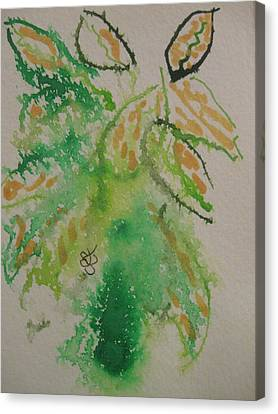 Canvas Print featuring the drawing Leaves by AJ Brown