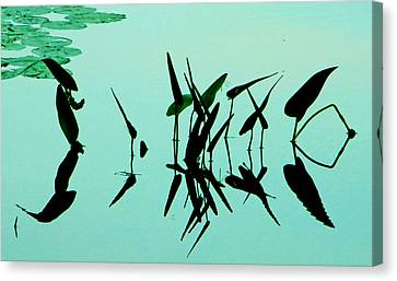 Leaves And Dragonflies 2 Canvas Print
