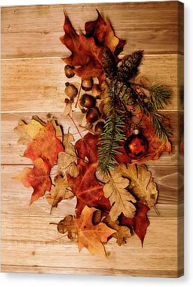 Canvas Print featuring the photograph Leaves And Nuts And Red Ornament by Rebecca Cozart