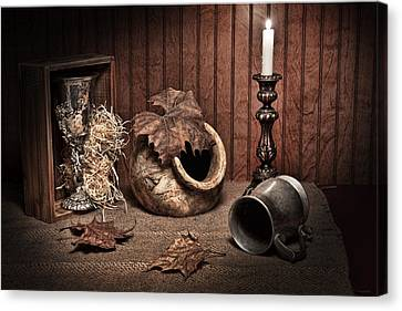 Candle Lit Canvas Print - Leaves And Vessels By Candlelight by Tom Mc Nemar