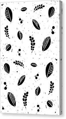 Lino-cut Canvas Print - Leaves B/w by Kathryn Humphrey