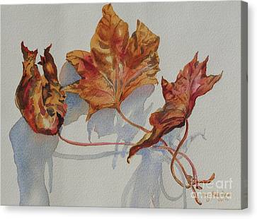 Canvas Print featuring the painting Leaves Of Fall by Mary Haley-Rocks