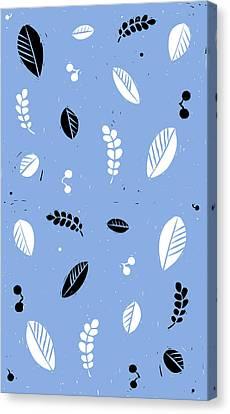 Lino-cut Canvas Print - Leaves - Peri B/w by Kathryn Humphrey