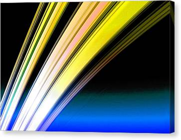 Cosmology Canvas Print - Leaving Saturn In Gold And Blue by Pet Serrano