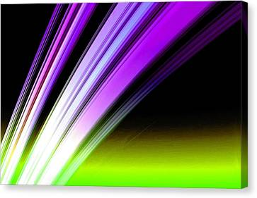 Cosmology Canvas Print - Leaving Saturn In Purple And Electric Green by Pet Serrano