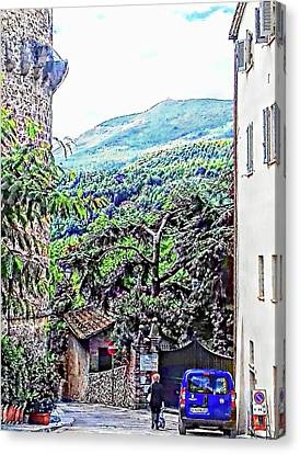 Leaving The Main Square Cetona Tuscany Canvas Print by Dorothy Berry-Lound