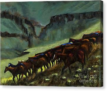 Leaving The Mesa Canvas Print by Frances Marino