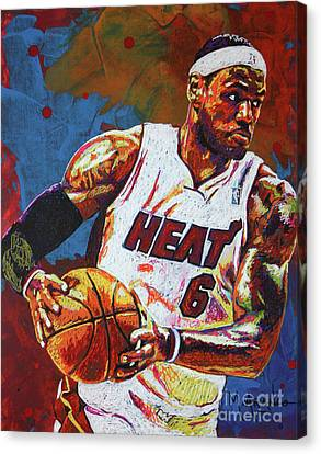 Lebron James 3 Canvas Print by Maria Arango