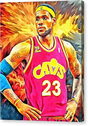 Lebron James Basketball Art Portrait Painting Canvas Print by Andres Ramos