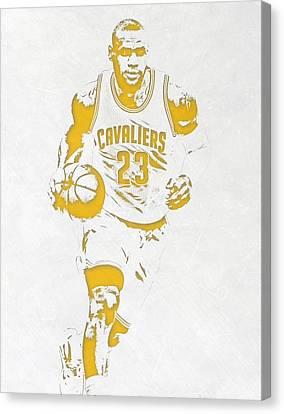 Lebron James Cleveland Cavaliers Pixel Art 5 Canvas Print