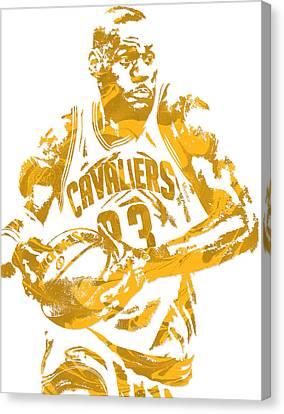 Lebron James Cleveland Cavaliers Pixel Art 6 Canvas Print