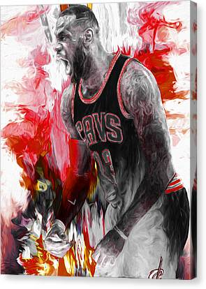Lebron James Cleveland Cavs Digital Painting Canvas Print by David Haskett