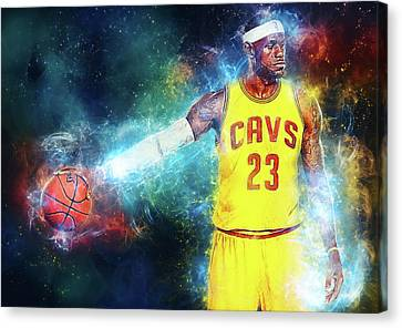 Nba Drawings Canvas Print - Lebron James by Taylan Apukovska