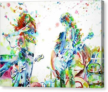 Led Zeppelin Live Concert - Watercolor Portrait.1 Canvas Print by Fabrizio Cassetta