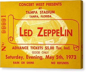 Rock Music Canvas Print - Led Zeppelin Ticket by David Lee Thompson
