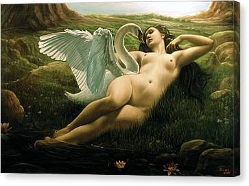 Leda And The Swan - Sensual Canvas Print by Giovanni Rapiti