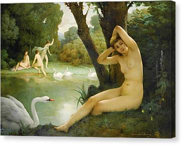 Leda And The Swan Canvas Print by Emmanuel Benner