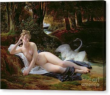 Leda And The Swan Canvas Print by Francois Edouard Picot