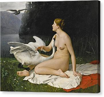 Leda And The Swan Canvas Print by Paul Lazerges