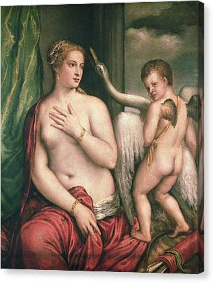 Leda And The Swan Canvas Print by Titian