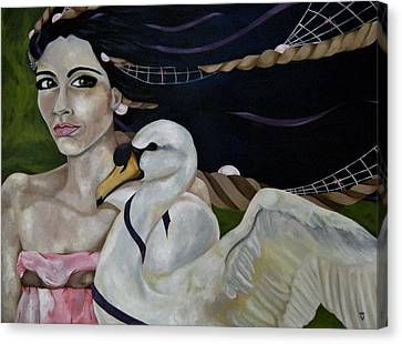 Leda And The Swan Canvas Print by Victoria Dietz