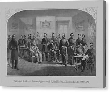 Lee Surrendering To Grant At Appomattox Canvas Print by War Is Hell Store