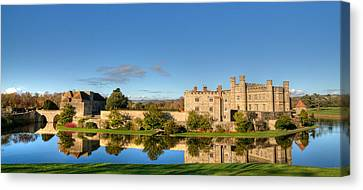 Leeds Castle And Moat Reflections Canvas Print