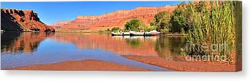 Cliff Lee Canvas Print - Lees Ferry River Raft Panorama by Adam Jewell