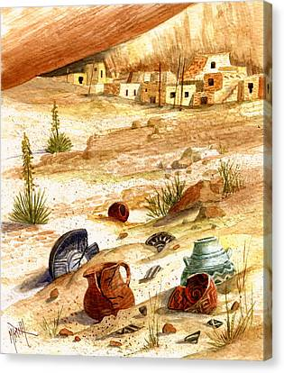 Canvas Print featuring the painting Left Behind - Indian Pottery by Marilyn Smith
