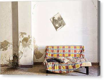 Left Behind Sofa  - Abandoned Building Canvas Print by Dirk Ercken