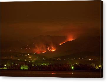 Lefthand Canyon Wildfire Night Time View Canvas Print by James BO  Insogna