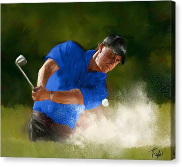 Masters Winners Canvas Print - Lefty In Action by Colleen Taylor