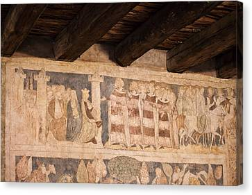 Legend Of Sir Lancelot Medieval Paintings In Ducal Tower Of Sied Canvas Print by Artur Bogacki