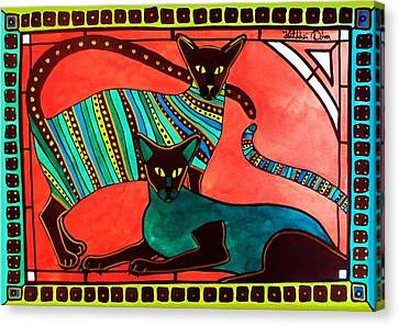 Canvas Print featuring the painting Legend Of The Siamese - Cat Art By Dora Hathazi Mendes by Dora Hathazi Mendes