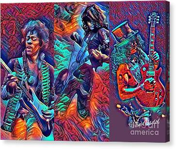 Led Zeppelin Artwork Canvas Print - Legendary Shredders - Psychedelic Solo by Scott D Van Osdol