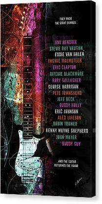 Fender Strat Canvas Print - Legends Of The Strat by Gary Bodnar