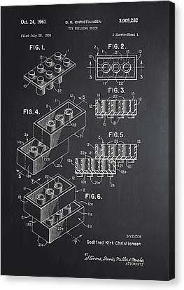 Lego Block Patent Chalkboard Canvas Print by Brooke Roby