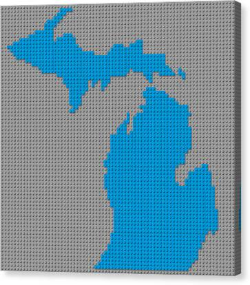 Lego Map Of Michigan Canvas Print by Design Turnpike