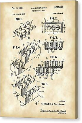 Denmark Canvas Print - Lego Patent 1958 - Vintage by Stephen Younts