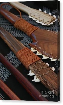 Lei O Mano Hawaiian Koa Shark Teeth Dagger And War Clubs Canvas Print by Sharon Mau