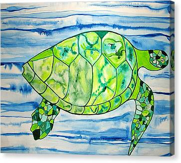 Canvas Print featuring the painting Leilani The Hawaiian Sea Turtle by Erika Swartzkopf