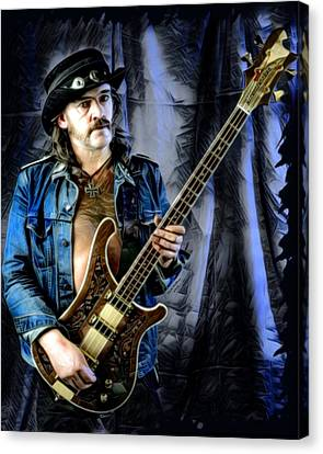 Sam Spade Canvas Print - Lemmy Kilmister With Guitar by Scott Wallace