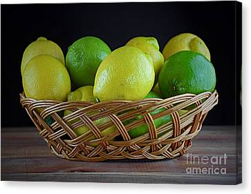 Lemon And Lime Basket Canvas Print